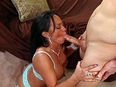 Experienced long haired cougar sexy Mariah Milano with big firm tits and great seductive skills gives boobjob to pale Michael Vegas and fucks with him all over living room.
