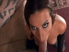 Tempting Brunette In Stockings Takes A Fat Rod In Her Shaved Pussy