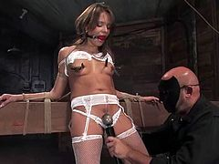 Lovely girl in stockings and lingerie gets tied up by her master. Then he pinches her titties with clothespins and claws. Later on this babe gets choked and toyed.