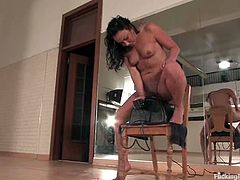 The slightly chubby brunette Bianca Dagger will reach many orgasms when she masturbates that shaved pussy of hers while a machine is fucking it.