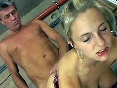 Sweetie moans hard having an old cock pounding deep in her juicy twat