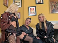 Perfectly shaped Victoria White and Helly Mae Hellfire take clothes off. Then they give an amazing blowjob to big cocked Bruce Ventura. They also get their smooth pussies licked.