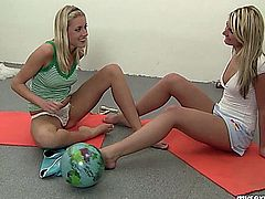 Adorable lesbian teen babes Lucy and Kathy licking and fingering their tiny cooters