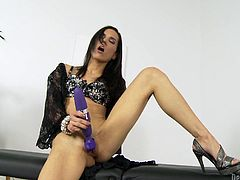Here is a nice cute brunette with small tits looking really nice playing with her pussy, using some of her favorite toys to get off.