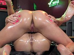 Young tight ass brunette dill Lia Lor with natural boobs and smoking hot body in bikini gets horny while wrestling in oil with her girlfriend and has awesome sixty nine with her.