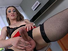 Tranny Jaqueline feels horny! She needs a hard cock between her juicy lips and in her tight, shaved anus. The whore shows us how good a cock could fit in her mouth or ass and then, begins to masturbate. Look at her rubbing that hard cock and craving for cum. If she does jizz, what will she do with the semen?