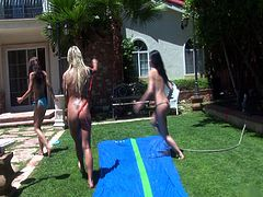 Courtesy of PornerBros HD you can see the horny and busty lesbians Ryder Skye, Savannah Gold and Rebeca Linares setting an amazing threesome. Watch the two brunettes and the wild blonde munching and dildoing their cunts into heaven.