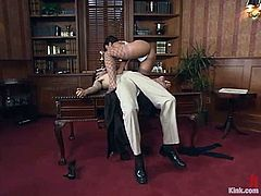Amazing Jasmine Byrne toys a guy in her office and