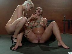 Stunning brown-haired bitch with big ass and boobs gets tied up and whipped by Lorelei Lee. Then she gets her shaved pussy toyed deep and hard.