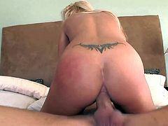 Experienced cock addicted blonde milf Jessica Moore with big hanging knockers and cheep heavy make up has mouth full with cock while getting ass demolished by Alex Gonz and Jenner.