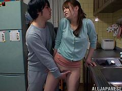 Slim and hot Akiho Yoshizaw lifts her skirt up and gets fingered. Then she gives a blowjob to her hubby and get rammed from behind.