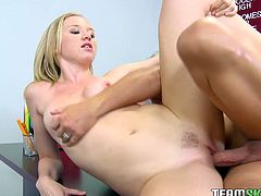 Nasty office whore with fine curves gets banged by coworker