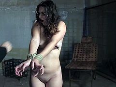 Cute dark-haired girl Sienna lets some man bind her feet. She stands on all fours and gets her pussy and ass fucked with toys.