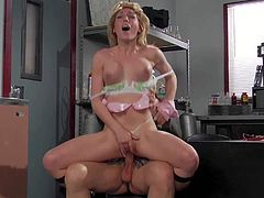 Tall experienced pornstar stud Evan Stone with long meaty sausage bangs pretty young looking blonde Lily Labeau with nice natural tits in white lace undies during provocative role play.