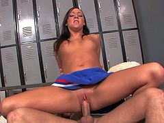 Slender tall brunette cheerleader with natural boobies and long hair in blue skirt makes out with Mr. Pete and manages to fit his entire cock up tight twat in locker room.