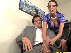 A dirty fuckin' brunette slut sucks cock and gets her fuckin' pink-ass gash stuffed with a hard boner, check it out right here!