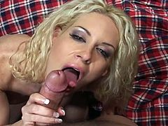This horny blonde bartender got seduced by one of her drunk clients. She decided to suck his massive cock and first gave up her pussy then her tight butthole.