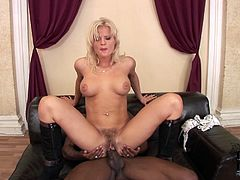 Once she is presented with a BBC shapely cutie can't resist trying it out. She climbs on top of her lover and rides him in reverse cowgirl position. A bit later he fucks her hairy snatch in sideways position.