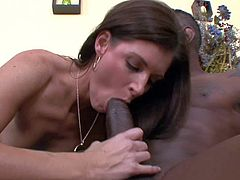 Black haired skilful milf India Summer with natural boobies and amazing fit body in expensive lingerie seduces black dude Jon Jon and gets his entire monster cock up wet shaved twat.