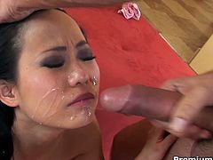 Hottest Asian girl that you will ever see going fucking nuts right here with an impressive blowjob where she goes fucking wild sucking up and down like a wild woman as her smalltits bounce all over the place. The slut receives a nasty cumshot.Watch her getting hard fucked and getting nice and nasty cum shot on face.