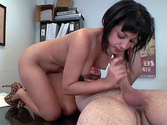 Tanned black haired secretary Abella Anderson with firm medium hooters and great oral skills gets naked for her dirty boss Ralph Long and sucks his pecker in the office.