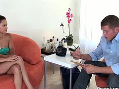 Mia Lina might be a teen, but she's also a whore. She gets pounded by her interviewer at her casting.