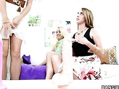 Natalie Heart shows off her assets while getting tongue fucked by lesbian Cadence Lux