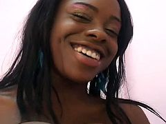 Skinny ebony newbie serves big black cock  both in her cum hungry mouth and tight wet pussy. Her perverted moves make him so crazy that he moans wildly before the camera.