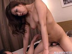 After an oily massage, Aya Takekawa is going to get her pussy fucked hard and nice for a creampie, just as she likes it.