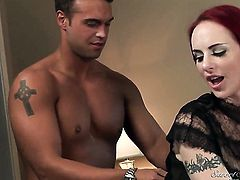 Berlin opens her mouth invitingly in blowjob action with Rocco Reed