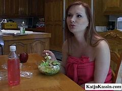 Katja Kassin is an extremely seductive woman. This bombshell is the full package. She's sexy and she has a playful personality. Healthy breakfast is just what a slutty MILF like Katja is in the mood for, so she gets right down to business. Damn, her gorgeous chest is worth salivating over.