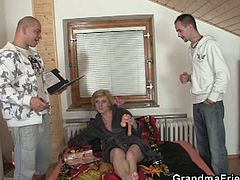 Check out this horny blonde czech granny messing with two big dicked dudes. Her mouth is stuffed with big cock, while her old cunt is getting banged hard!