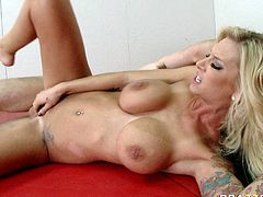 Sultry blonde porn star Brooke Banner is a proprietress of gorgeous body shape with big fake boobs. She gets on top of hard shaft jumping like crazy. Later on she is nailed hard missionary style. Super hot and exciting porn scene presented by Brazzers Network.