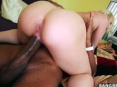 Hardcore interracial fuck scene featuring torrid blonde hoe Sarah Vandella. Pale skinned porn star gets hammered deep in her cunt doggy style. Later on she fucks missionary style.
