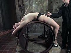 Captivating brunette Bobbi Starr lets some man bind and torture her in a basement. The dude immobilizes the cutie and then smashes her holes with a few toys.