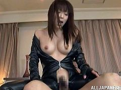 Kinky Japanese bitch Kimika Ichijou wearing a leather overall is playing dirty games with two men. She allows the guys to play with her tits and then enjoys sucking and riding their wangs.