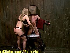 Watch a gorgeous blonde mistress tying up her slave and torturing his cock before sitting on his face.