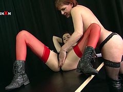 Lustful lesbian Faye Rampton knows that she is driving her GF crazy. She goes straight for her pussy and licks it greedily like a true cunt licker. Press play and enjoy the action!