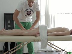 Watch this perverted therapist who loves to rub his client's wet pussy and fuck them softly in Team Skeet sex clips.