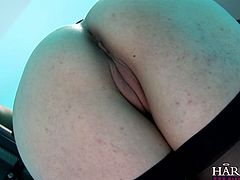 Seductive brunette babe with juicy red lips finger fucks pussy and sends dildo toy deep in her pinkish vagina. Her lesbian girlfriend assists her. Go for the top rated Harmony Vision lesbian sex scene.