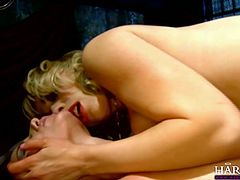 Watch this crazy sex video of two slutty blond babes getting fucked by some perverted jerk in his bedroom in harmony Vision sex clips.