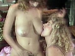 Big tits beauties are enjoying warm pussy stimulation in a sexy vintage lesbian show