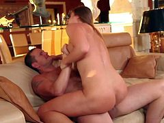 Adorable brunette Cathy Heaven with french manicure and heavy make up gives head to Ian Scott in living room and gets his entire fat cock up tight honey pot.