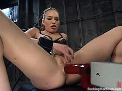 This kinky and naughty siren Ashley Gracie loves it big. She gets naked and starts making that fucking machine poke her muff in all ways!
