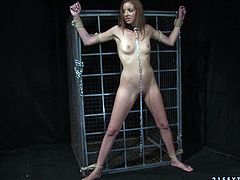 This chick must have done something very bad to be locked in the cage. Horny bondage master grab this bitch by her head and pulls her towards his rock hard erection so she can suck his cock. She sucks his stiff dick with unrestrained passion as if her life depends on it.