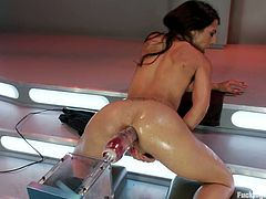 Petite brunette babe have some fun with her fucking machine. She gets toyed in her hot pussy deep and hard. Later on she also gets stuffed in the ass.