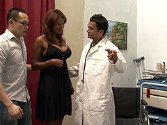 Hagi, Eric Jover and Kymora Lee are playing dirty games in a hospital ward. The doctor pets and fucks the bitch and the Asian dude watches them all the time.