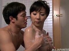 These two gorgeous and slender Japanese girlfriends are going to make this dude feel so important! They give him a hot double blowjob!
