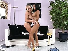 Brunette Kyra Black with massive knockers is on fire in girl-on-girl action with lovely Candy Strong