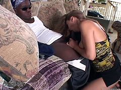 Ashton is a white trash whore, that never says no to cock! This time she's about to delight herself with a black dick and midget, that has it, is anxious to give it to her. She grabs it firmly, opens her mouth wide and shovels it in her throat. The slut slides her lips on his penis and then, gets pussy licked